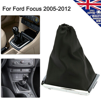 BLACK STITCH REAL LEATHER GEAR GAITER+PLASTIC FRAME FITS FORD TRANSIT MK7 06-14