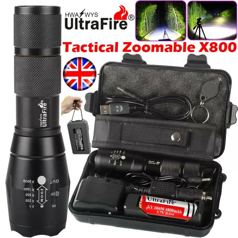 90000lm Ultrafire G700 XML CREE LED Tactical Flashlight Military Torch Headlamp