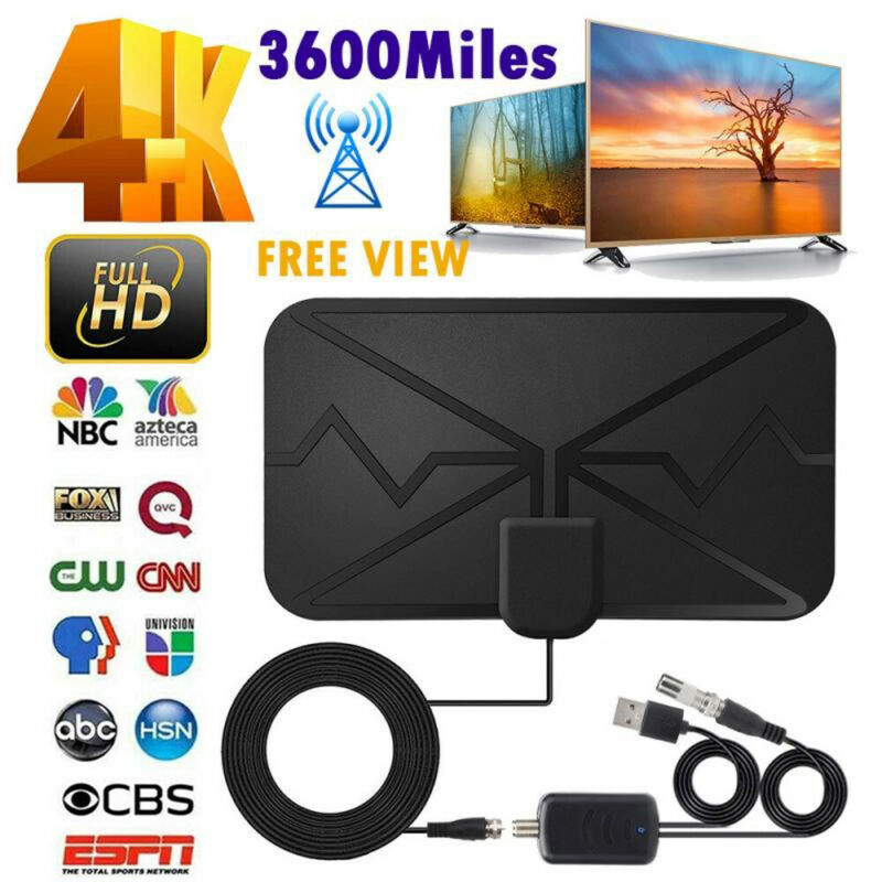 3600 Miles TV Antenna Upgraded Newest HDTV Indoor Digital Amplified 4K 1080P US
