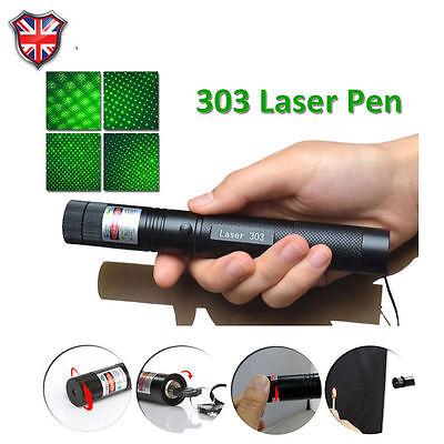 303 Green Laser Pointer Pen Adjustable Focus 532nm +18650 Battery & UK Change
