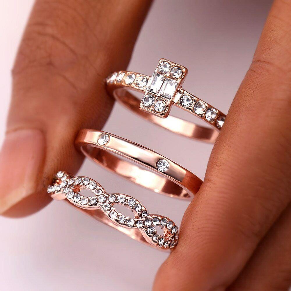 3Pcs/Set Fashion Infinity Rings Set For Women Girls Crystal