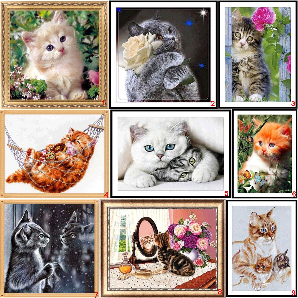 5D DIY Painting Cat Animal Home Decor Art Cross Stitch Kit Diamond Embroidery