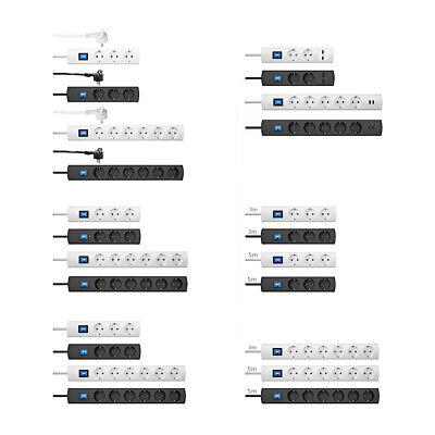 Kopp UNOversal plus Steckdosenleiste Schalter Überspannungsschutz USB 1,4/3/5m