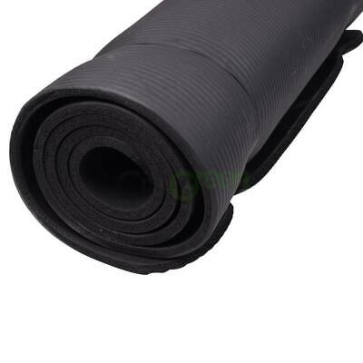 """New 10mm Thick Non-Slip Yoga Mat Pad Exercise Fitness Light Weight 72""""x24"""" Black 1"""