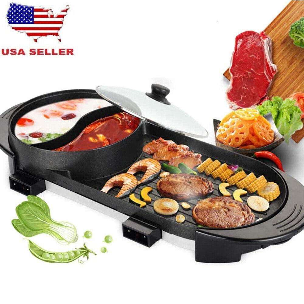 Portable Electric 2 in 1 Hot Pot Barbecue Grill Non-Stick Te
