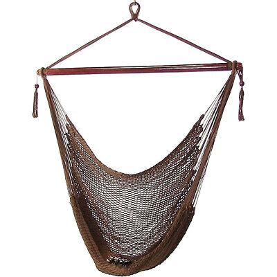 Sunnydaze Hanging Caribbean XL Hammock Chair, Mocha, 40 Inch