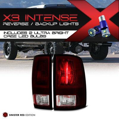 !CREE LED BACKUP! 09-18 Dodge Ram Pickup DARK Red Smoke Tail Lights Brake Lamps