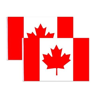 2 Canadian Flag 3'x5' Polyester Canada Maple Leaf Banner Indoor Outdoor Grommet