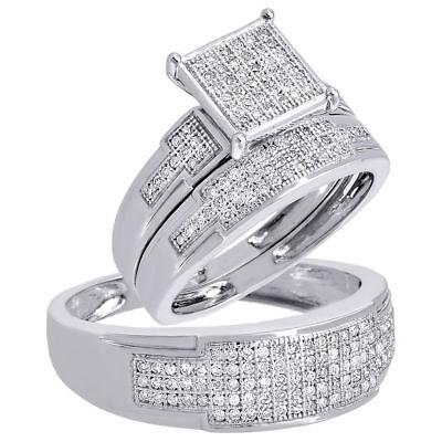 Diamond Trio Set Engagement Ring 10k White Gold Round Pave Wedding Band 1/2 Ct.