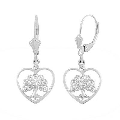 - Sterling Silver Tree of Life Open Heart Filigree Drop/Dangle Leverback Earrings