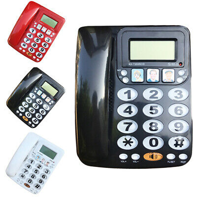 Large Number Big Button Home Telephone Corded Wall Desk Memory Dialing