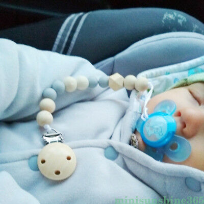 Feeding Clip - Baby Pacifier Clip Chain Holder Wood Silicone Beads Nipple Dummy Chew Toy Gift