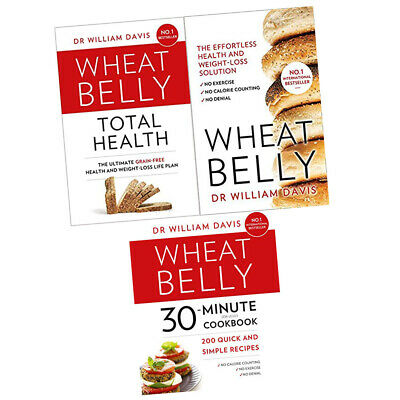 Wheat Belly Total Health, 30 Minutes Cookbook Dr William Davis 3 Books Set New
