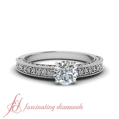 1/2 Carat Round Cut Diamond Celtic Design Solitaire Engagement Ring For Women
