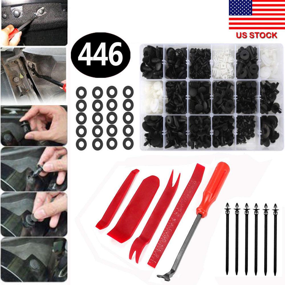 Car Parts - 446pcs Auto Car Push Retainer Pin Rivet Trim Clip Panel Moulding Assortments Kit