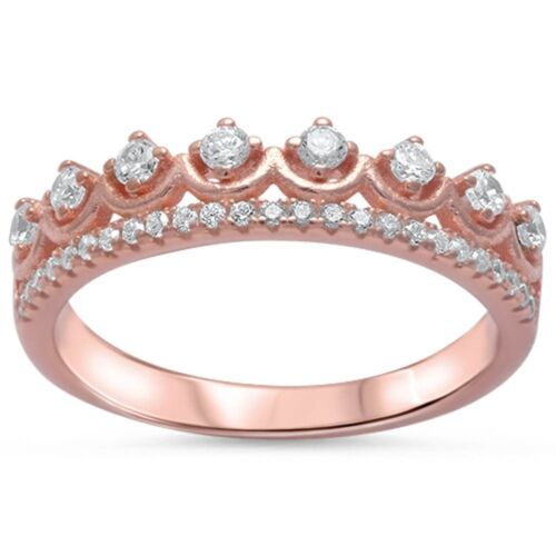 Rose Gold Plated Cz Crown .925 Sterling Silver Ring Sizes 4-