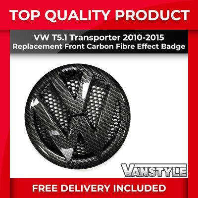 VW TRANSPORTER T5.1 CARBON FIBRE EFFECT FRONT RADIATOR GRILLE BADGE 2010-2015