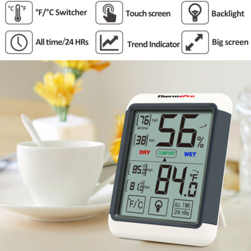 1/3/4/5 ThermoPro Digital LCD Touchscreen Humidity Thermometer Indoor Hygrometer