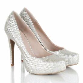Silver platform court shoes (size 4)