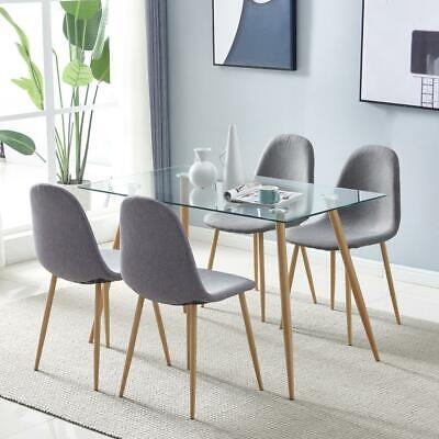 Modern 5 Piece Dining Table Set 4 Gray Chairs Glass Table Kitchen Room Home US
