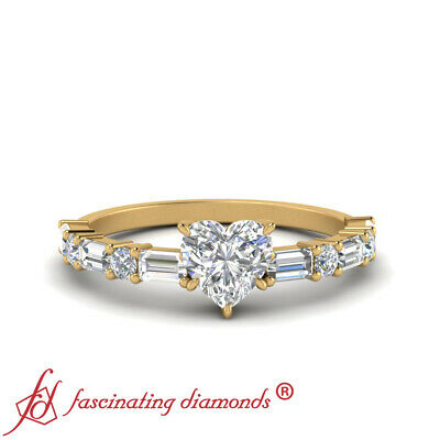 1 Carat Heart Shaped SI1 Diamond Engagement Ring With Round And Baguette Accents