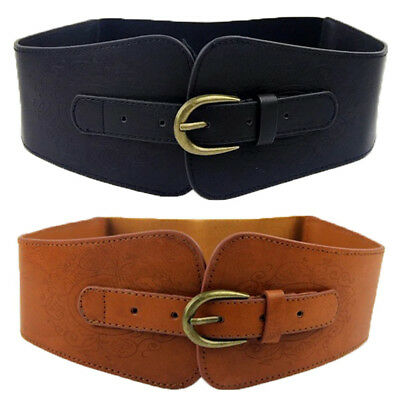 USA Shipping Women Lady Super Wide Faux Leather Totem Elastic Corset Cinch Belt  - Elastic Corset Cinch Belt