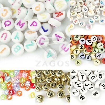 70Stk Acryl Flach Rund Alphabet Perlen Buchstaben diy Armband 7x7mm Großhandel