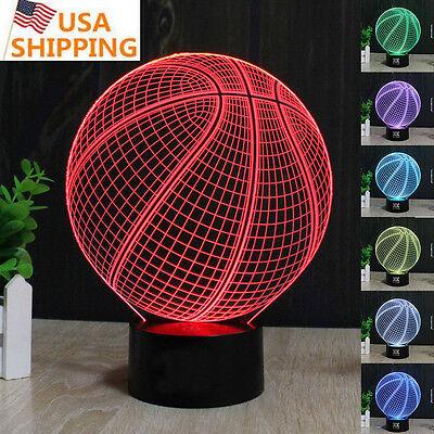 Sport Basketball 3D LED Night Light Touch Table Desk Art Lamp 7 Colo Gift