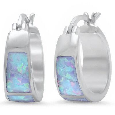 White Australian Opal Hoop Huggie .925 Sterling Silver Earri