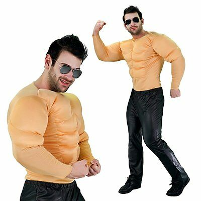 Padded Muscle Chest 6 Pack Bodybuilder Mens Shirt Stag Party Adult Fancy Costume