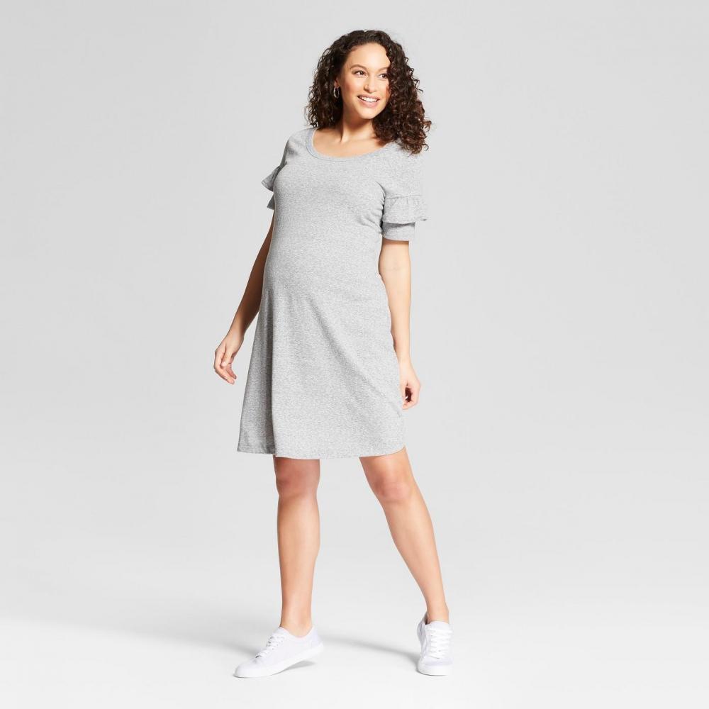 2d54b35c980 ISABEL MATERNITY by Ingrid   Isabel Knit Ruffle Sleeve T-shirt Dress - Grey  New