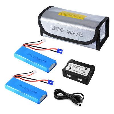 2pcs 7.4V 2700mAh LiPo Battery USB Balance Charger for Hubsan H501S Drone RC473