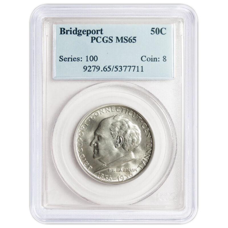 1936 50c Bridgeport Centennial Commemorative Silver Half Dollar PCGS MS65