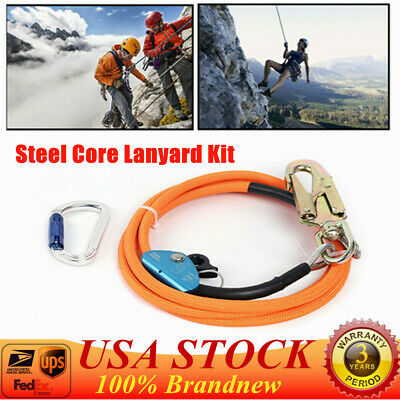 12 X 10 Steel Core Lanyard Kit Flipline Swivel Snap Hook Fixed Pin Rope Grab
