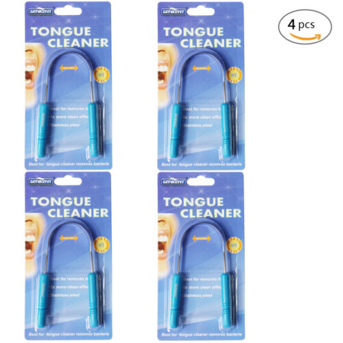 4 Pack STAINLESS STEEL Tongue Cleaner Scraper NO PLASTIC/COPPER Health & Beauty