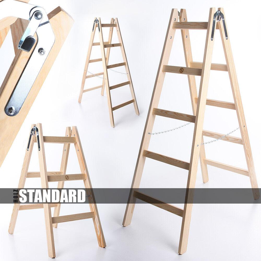 Holzleiter STANDARD 3 - 6 Stufen Klappleiter Leiter Haushaltsleiter 150kg