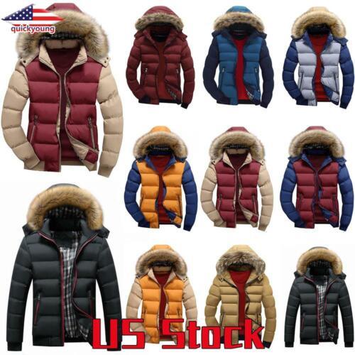 Men Winter Warm Fur Hooded Parka Coat Padded Bubble Puffer Q