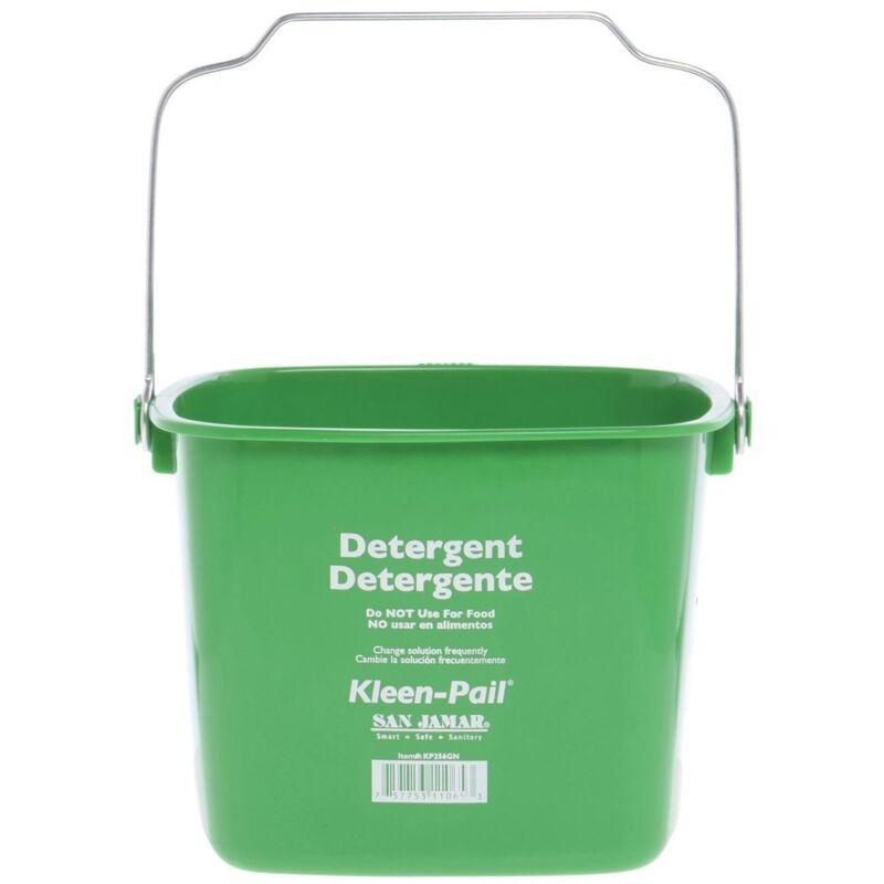 """San Jamar 8 qt Green Plastic Kleen-Pail Cleaning Bucket - 9 1/2""""L x 9 1/2""""W x 7"""