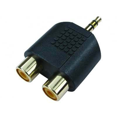 3.5mm Jack to 2 RCA Adapter Twin Phono Y Splitter Stereo Male 2x Female GOLD