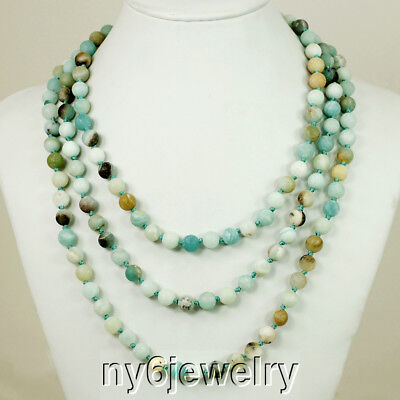Gorgeous! Hand-Knotted Natural Multi-colored Matte Amazonite Long Necklace 60