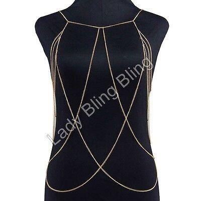 Körperkette Körperschmuck Brustkette Collier Halskette Kette Body Chain Gold