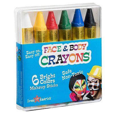 Adults Kids Unisex 6 Color Crayon for Face Paint, Halloween, Washable, Makeup