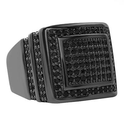 - Ice Chunk Baller Bling Black CZ Hip Hop Mens Iced Out Ring