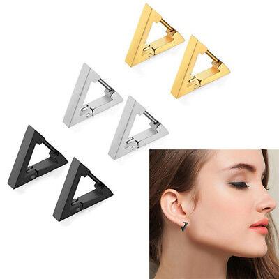Punk Rock Stainless Steel Triangle Hoop Huggie Ear Studs Earrings Birthday - Punk Rock Birthday