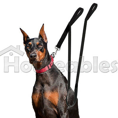 Dog Leash Dual Handle Black Nylon 2 Padded Handles Extra Long 8 ft Easy Control