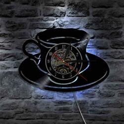LED Wall Clock Modern Design Kitchen Clocks Coffee Time CD Wall Watch Home Decor