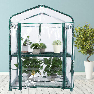 Mini Walk In Greenhouse PVC Plastic Garden Grow Green House with 2 Shelves UK for sale  United Kingdom
