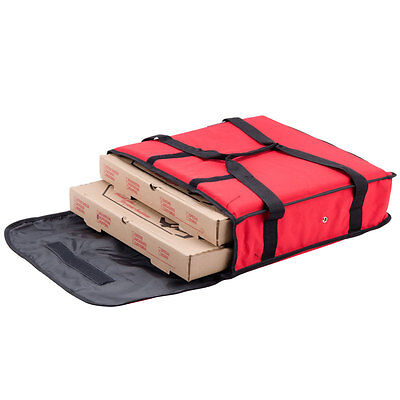 """Pizza Food Delivery Bag Red Thermal Insulated NYLON holds 2 16"""" Pizzas Pies"""