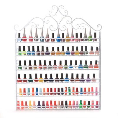 Wall mounted 6 Tier Nail Polish Display Rack Organizer Hold To 120 Bottles White for sale  Walnut