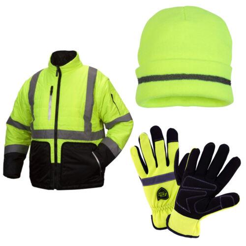 Premium ANSI Class 3 Hi-Viz Winter Work Wear Set (4-in-1 Jacket, Beanie, Gloves)